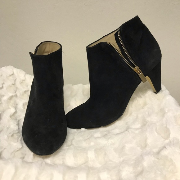 INC International Concepts Shoes - INC 7.5 suede leather booties side gold zipper